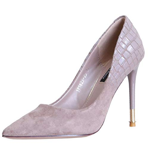 Thin Shoes High Thirty Autumn Heel Women'S Shoes Heel Thin Pointed Seven Mouth Suede 9Cm Taro Shoes Simple Shallow Splicing KPHY Head a7gwUqSqx