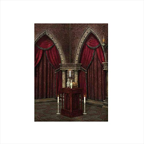 Decorative Privacy Window Film/Mysterious Dark Room in Castle Ancient Pillars Candles Spiritual Atmosphere Pattern/No-Glue Self Static Cling for Home Bedroom Bathroom Kitchen Office Decor Red Black