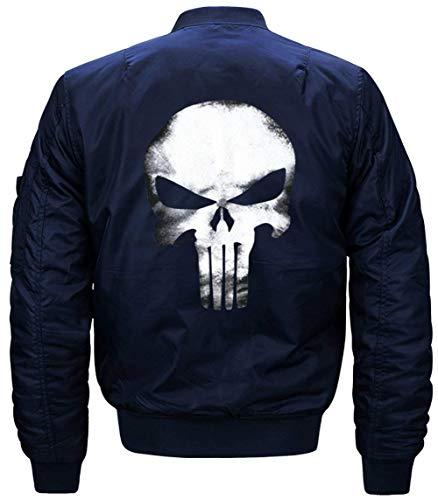 Larga De Bombardero Lino Acolchado Collar De Jacket Jacket Blau Manga Delgado Los Chaqueta Modelado De Cráneo De Flight Chaqueta Hombres Vuelo De Chaqueta Z05zFF