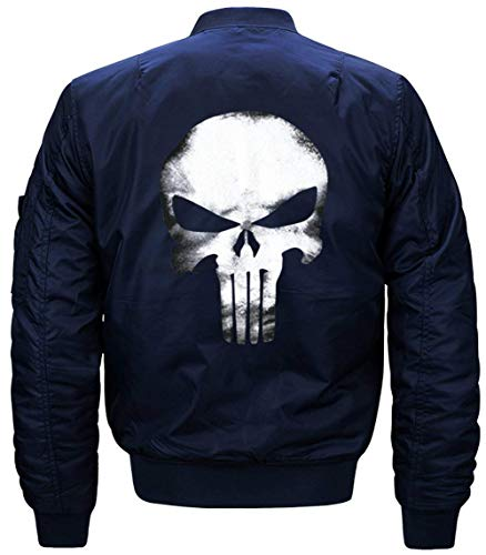 Lino De Vuelo Jacket Larga Bombardero Hombres Flight Cráneo De Blau Collar Manga Chaqueta De De Chaqueta De Delgado Acolchado Jacket Modelado Los Chaqueta Pq57HwZ