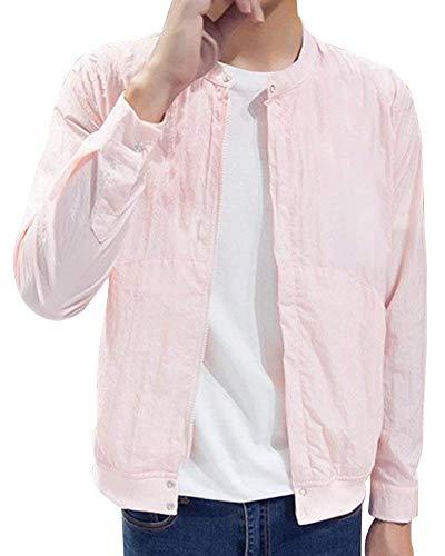 HaiDean Cazadora Larga Al Aire De Los Hombres Libre Modernas Casual Bolsos Delanteros Largos del Cuello del Soporte De La Manga De Los Hombres con La Chaqueta De La Chaqueta De La Cremallera Pink