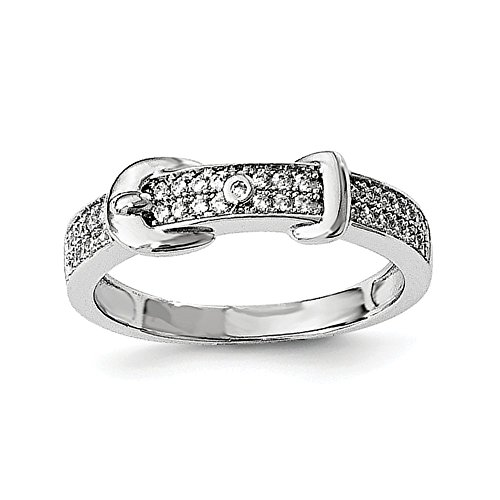 (925 Sterling Silver Cubic Zirconia Cz Buckle Band Ring Size 7.00 Fine Jewelry Gifts For Women For Her)