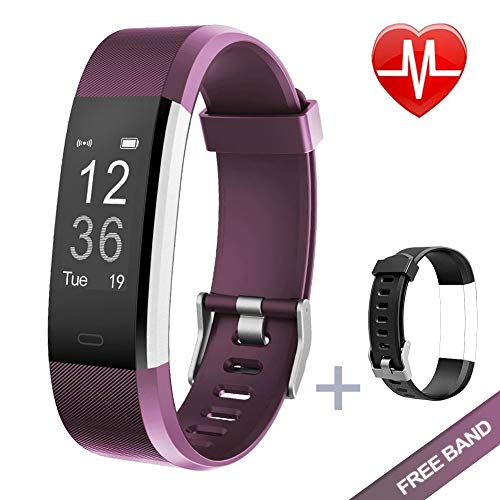 Lintelek Fitness Tracker, Heart Rate Monitor Activity Tracker with Connected GPS Tracker, Step Counter, Sleep Monitor,Waterproof Pedometer for Android and iOS Smartphone (Violet + Replacement Band)