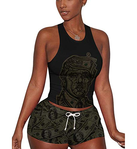 - Women's 2 Piece Shorts Set - Sexy Tank Tops + Shorts Tracksuit Small Black