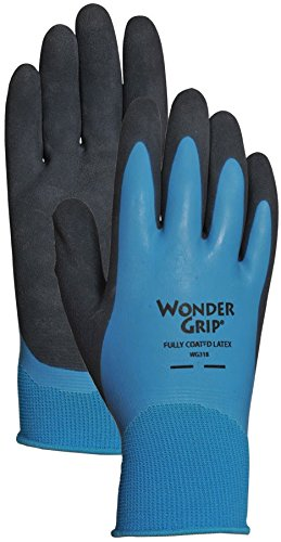 Wonder Grip WG318XL Liquid-Proof Double-Coated/Dipped Natural Latex Rubber Work Gloves, 13-Gauge Seamless Nylon, X-Large, (Latex Dipped Work Gloves)