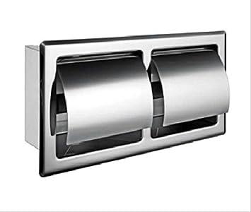 Doble rollo de papel higiénico de acero inoxidable Holder almacenamiento baño cocina doble rollo de papel Tejido dispensador de toalla Percha Soporte de ...