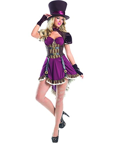 Be Wicked Women's 2 Piece Steam Punk Mad Hatter, Burgundy, Small/Medium (Sexy Mad Hatter Costumes)