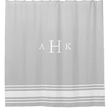 Image Unavailable Not Available For Color Gray And White Classic Stripe Border Monogram Shower Curtain