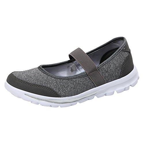 Correr Mujer Zapatillas Deportivas Deporte Transpirables de de Oscuro Running Casual Zapatillas Sneakers señora para Gimnasio Zapatos para Gris Deporte w5wYqSzr