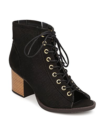 Qupid FK25 Women Faux Suede Peep Toe Lace Up Perforated Chunky Heel Bootie - Black