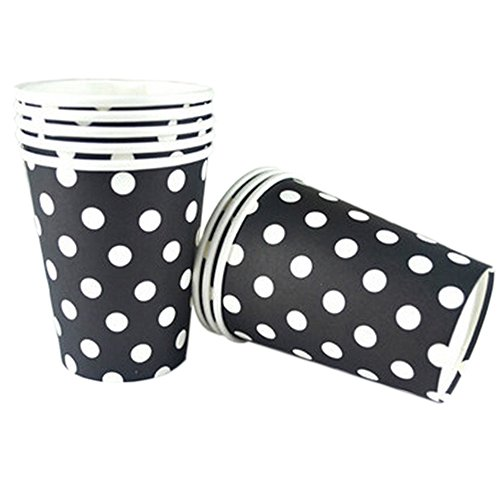 Disposable Paper Cup Coffee Paper Cup White Dots 50 Count 8.25 oz Black