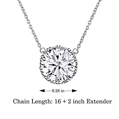 "Beyond Love 2.25 Ct Round Cut 5A Cubic Zirconia CZ April Birthstone Solitaire Pendant Necklace for Women Crown Set (16""+2"" Ext.)"