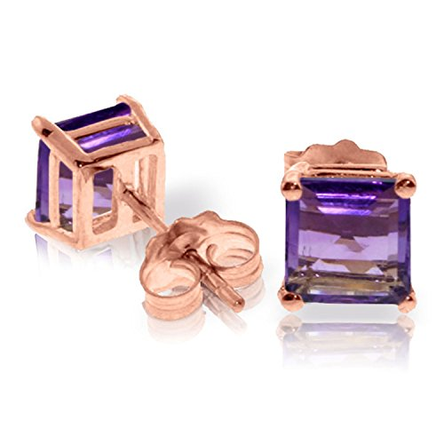 1.75 CTW 14K Solid Rose Gold Sparkle Amethyst Stud Earrings