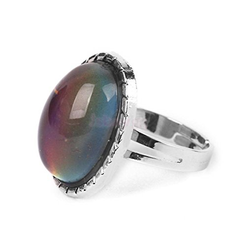 Vintage Retro 70s Oval Mood Ring Color Changeable Emotion Feeling Adjustable by ShiningLove (Image #2)