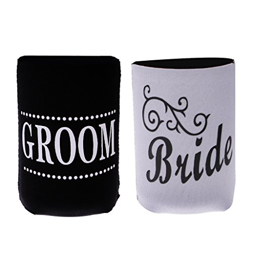 Groom Coaster Set - Jili Online Set of 2pcs Couple Bride Groom Soda Cola Beer Can Cooler Sleeve Holder Wedding Party Table Decorations