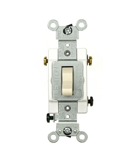Leviton CSB3-20T 20 Amp, 120/277 Volt, Toggle 3-Way AC Quiet Switch, Commercial Grade, Grounding, Light ()