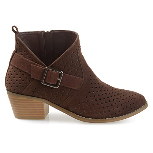 (Brinley Co. Womens Perforated Faux Suede Stacked Heel Asymmetrical Booties Brown, 6 Regular US)