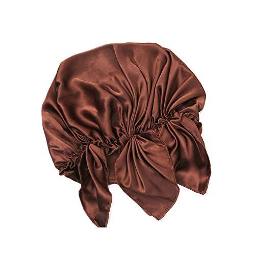 NMM Global 100% Natural Silk Night Sleep Cap Head Cover Lined Sleeping Bonnet for Women & Men Hair Scalp Care (Coffee)