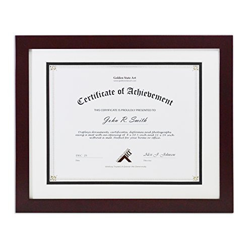 Golden State Art, 11x14 Wood Frame with Double Mat For 8.5x11 Document & Certificates, Real Glass, Mahogany by Golden State Art