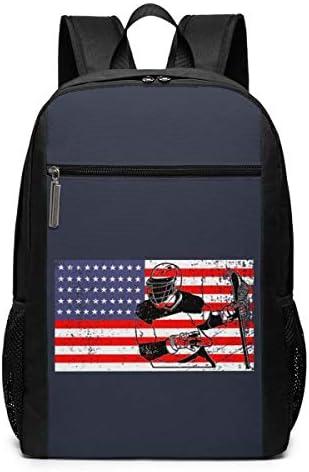 La-c-Rosse Am-erican Flag LA-X School Backpack for Girls Boys Kids Teens, Unisex Lightweight Backpack for Men Women College Schoolbag Laptop Backpack