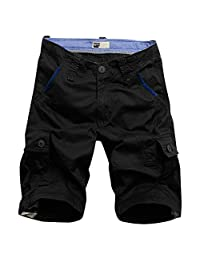 MOTOR CASUAL Men's Twill Cargo Shorts Cotton Loose Fit Multi Pocket Cargo Shorts