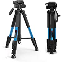 Tairoad Tripod 55 Aluminum Lightweight Sturdy Tripod for DSLR EOS Canon Nikon Sony Samsung Max Capacity 11lbs (Blue)