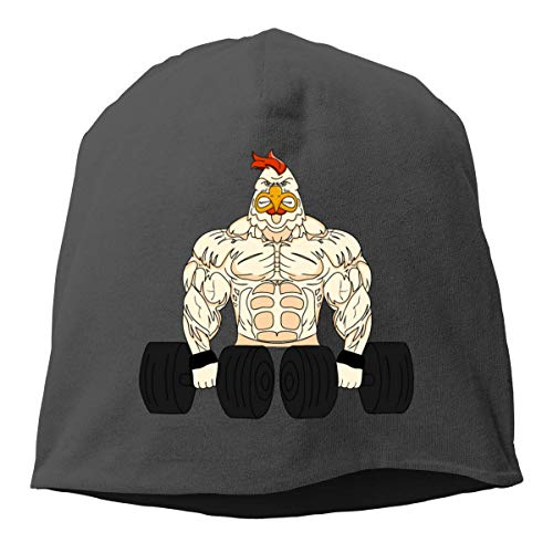 (LXXYZ Beret Knit Cap Muscle Rooster Lifting Dumbbells Skull Soft Beanie Hat for Mens Womens)