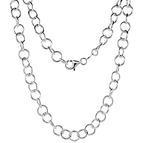 Sterling Silver Circle Link Cable Chain Necklace 6.9mm Nickel Free Italy, 18 (Sterling Silver Circle Link Necklace)