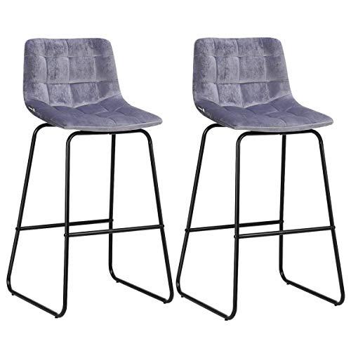 AK Energy 2 PCS Gray Velvet Bar Pub Counter Stool Chair Set Black Metal Leg Kitchen Retro Reception Counter