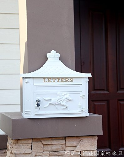 - CAV001 French Victorian Style Vintage European High-grade Rainproof Cast Aluminum Mailbox Crafts Retro Old Style Letterbox Newspaper Boxes Wall Mounting White Color
