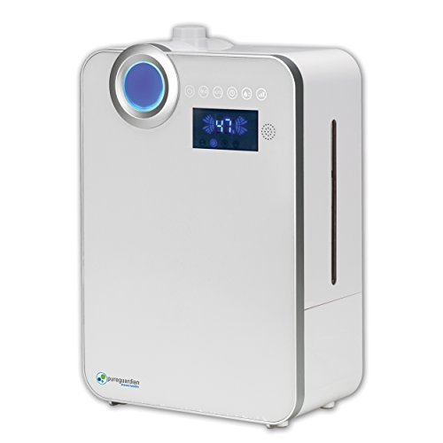 PureGuardian 12.5L Output per Day Ultrasonic Warm and Cool Mist Humidifier, Large Room, Home, Office, Easy Quiet Operation, Digital Display, Auto Humidistat, Timer, Auto Shut-Off,  Pure Guardian H7550 by Guardian Technologies