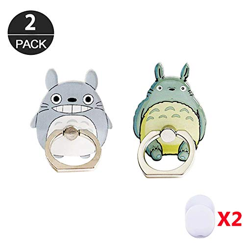 ZOEAST(TM) 2pcs Phone Ring Grip My Neighour Cat Chinchilla Universal 360° Adjustable Holder Car Desk Hook Stand Stent Mount Kickstand Compatible with iPhone X Plus Samsung Pad Tablet (2pcs Totoro) (Totoro Phone Strap)