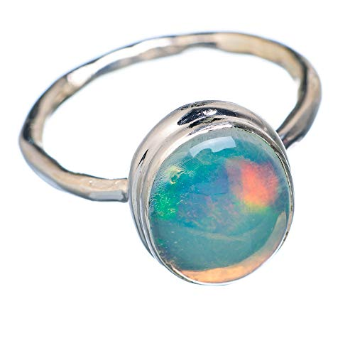 Natural Ethiopian Opal Ring Size 8 (925 Sterling Silver) - Handmade Boho Vintage Jewelry RING933173 from Ana Silver