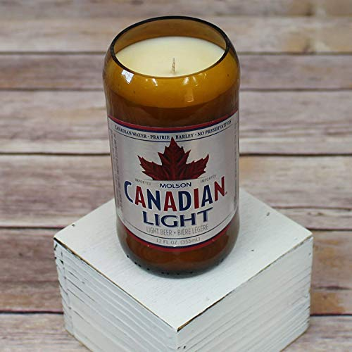 Molson Canadian Light Glass Beer Bottle Soy Candle with Custom Scent Canada Canadien