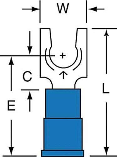 (3M(TM) Scotchlok(TM) Locking Fork, Vinyl Insulated Butted Seam MVU14-10FLK, Stud Size 10)