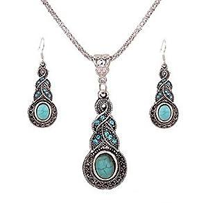 ILJILU 1 X Fashion Women's Retro Turquoise Rhinestone Earrings Necklace Jewelry Set