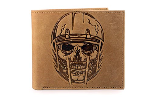 Unique American Football Skull Embossed Distressed Leather Bifold Gothic Slim Wallet (Light Brown Distressed)