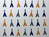 TeePee Confetti - Navy, Orange, and Grey TeePees - Teepee Decor - Tribal Birthday Party - Tribal Baby Shower - Wild One Baby Shower - 300 pieces