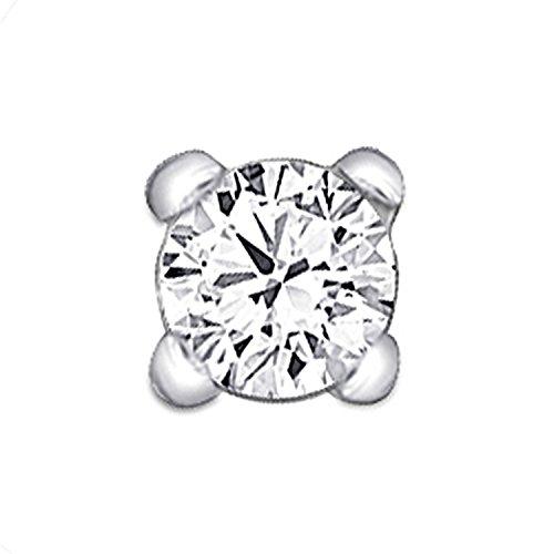 2.3mm Diamond Nose Stud / Lip Labret / Screw Ring Piercing Pin Bone 14k Gold 19.5 Guage (GH / I1 I2)