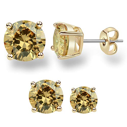 MissDa 14K Yellow Gold Plated, Yellow Champagne color 6/8MM Cubic Zirconia, Stainless Steel Surgical Post Women Stud Earring ()