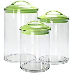 Calypso Basics by Reston Lloyd Acrylic Storage Canisters, Set of 3, Lime
