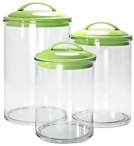 Calypso Basics by Reston Lloyd Acrylic Storage Canisters, Set of 3, (Green Canister)