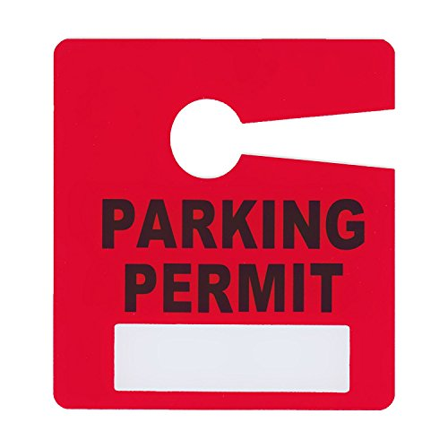 Parking Permit Pass Stock Hang Tags for Employees, Tenants, Students, Businesses, Office, Apartments, 10 Pack (Red)