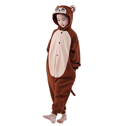 Infant Monkey Costume Flying (NEWCOSPLAY Halloween Unisex Children Animal Pajamas Costume (95, Brown)