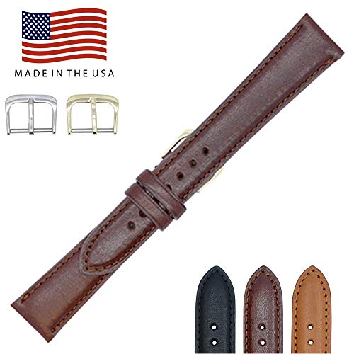 22mm British Brown - Padded Stitched - English Bridle Leather - Watch Strap Band - Gold & Silver Buckles Included – Factory Direct - Made in USA by Real Leather Creations FBA84