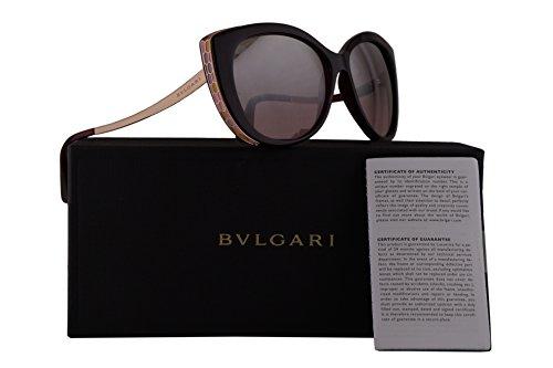 Bvlgari BV8178 Sunglasses Dark Violet Raspberry w/Violet Raspberry Pink Silver Mirror 57mm Lens 11177E BV 8178 - Bulgari Sun Glasses