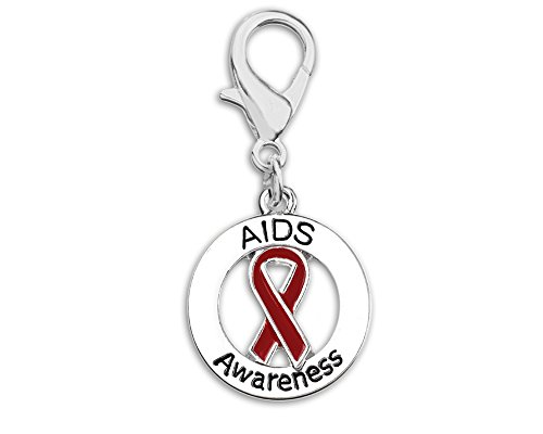 Round AIDS Awareness Ribbon Hanging Charm in a Bag (1 Hanging Charm - Retail)