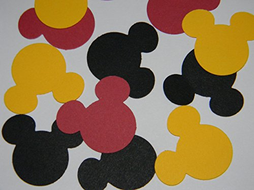 100 black, red and yellow Mickey Mouse head 1 inch die cuts party decor scrapbooking confetti ()