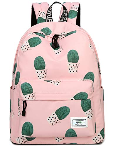 School Bookbags for Girls, Cute Cactus Backpack College Bags Women Daypack Travel Bag by Mygreen (Pink)
