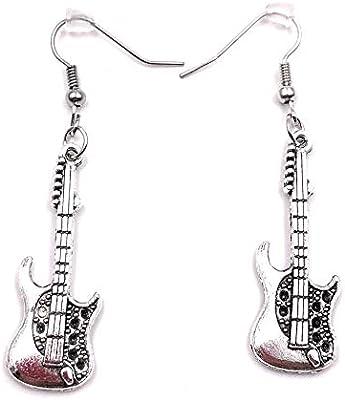 H-Customs Rock Guitarra Guitarra Eléctrica Pendientes Pendiente ...